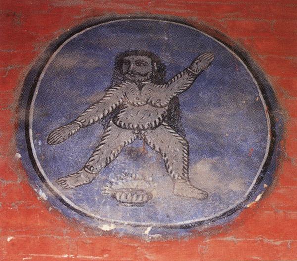 Покрытый шерстью обезьяно-человек йети на стене храма в Катманду.