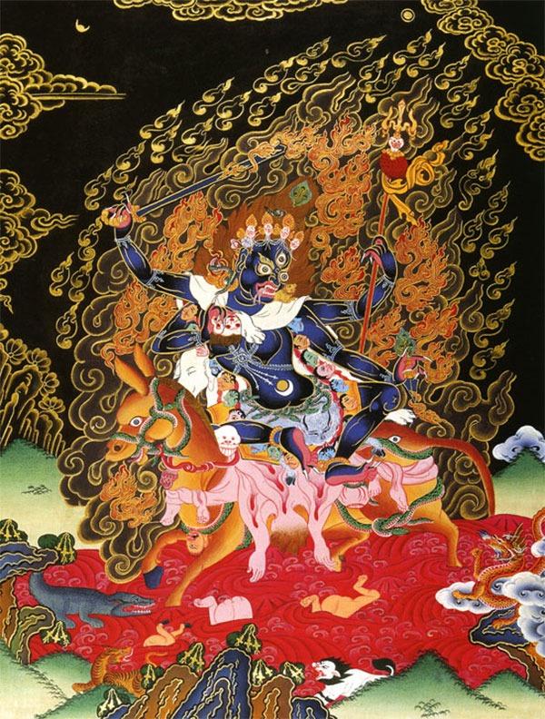тханка Шримати Дэви, или Лхамо Дусолма (Тиб.). (Упрощённая репродукция, мастерские Шахи)