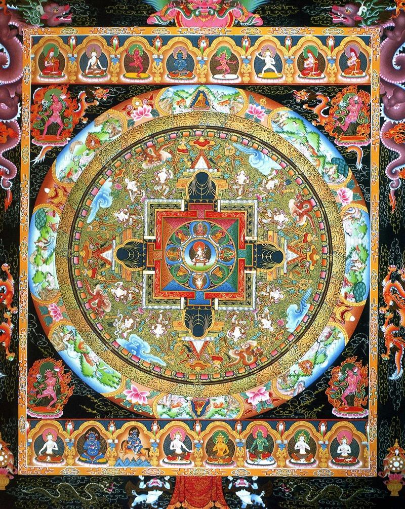 Тара Мандала, Сапталохем мандала. Тибетские работы в стиле невари, минеральные цвета и жидкое золото