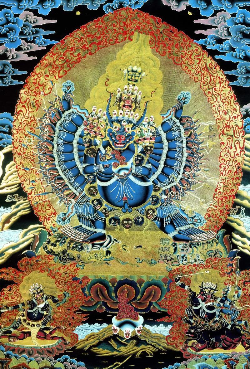 Ямантака тханка. Тибетский стиль, минеральные цвета, жидкое золото и серебро