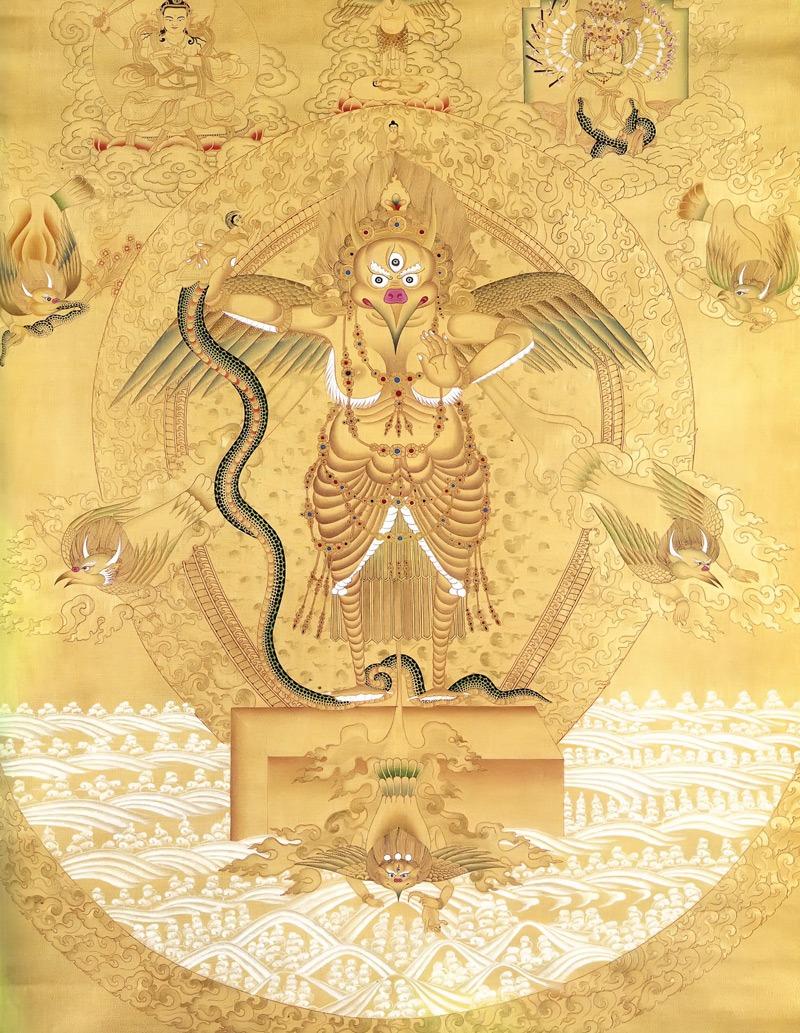 Гаруда тханка, золото. Тибетский стиль, минеральные цвета и жидкое золото