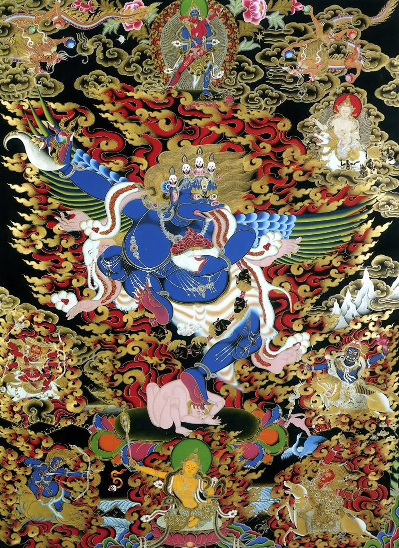 Тханка анцующий Гаруда. Стиль невари, минеральные цвета с жидким золотом и серебром