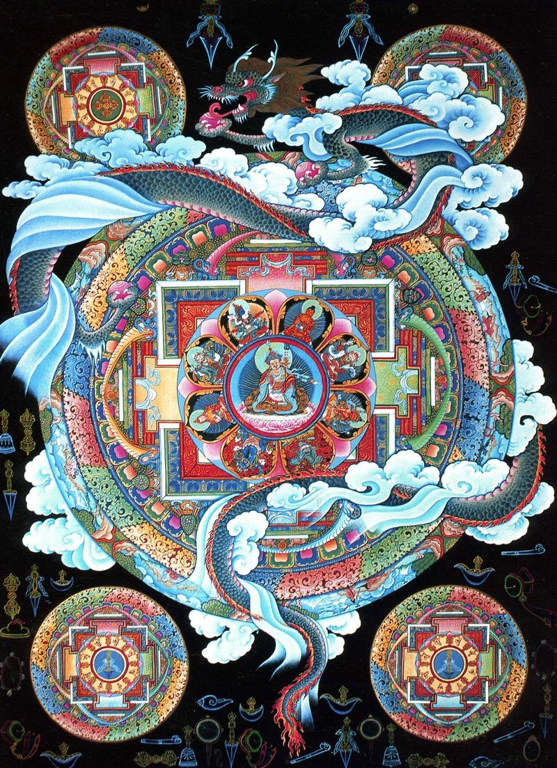 Тханка Джанкри, мандала с драконом. Стиль таманг, минеральные тона, жидкое золото, 70 х 50,5 см