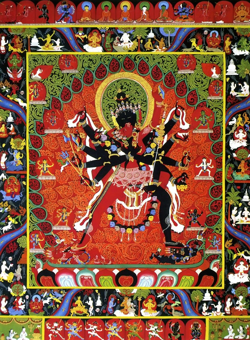 Чакрасамвара тханка (нев.), Ваджрайогини (неп.), Дем чок (тиб.) Тибетская работа в стиле невари, минеральные цвета и жидкое золото
