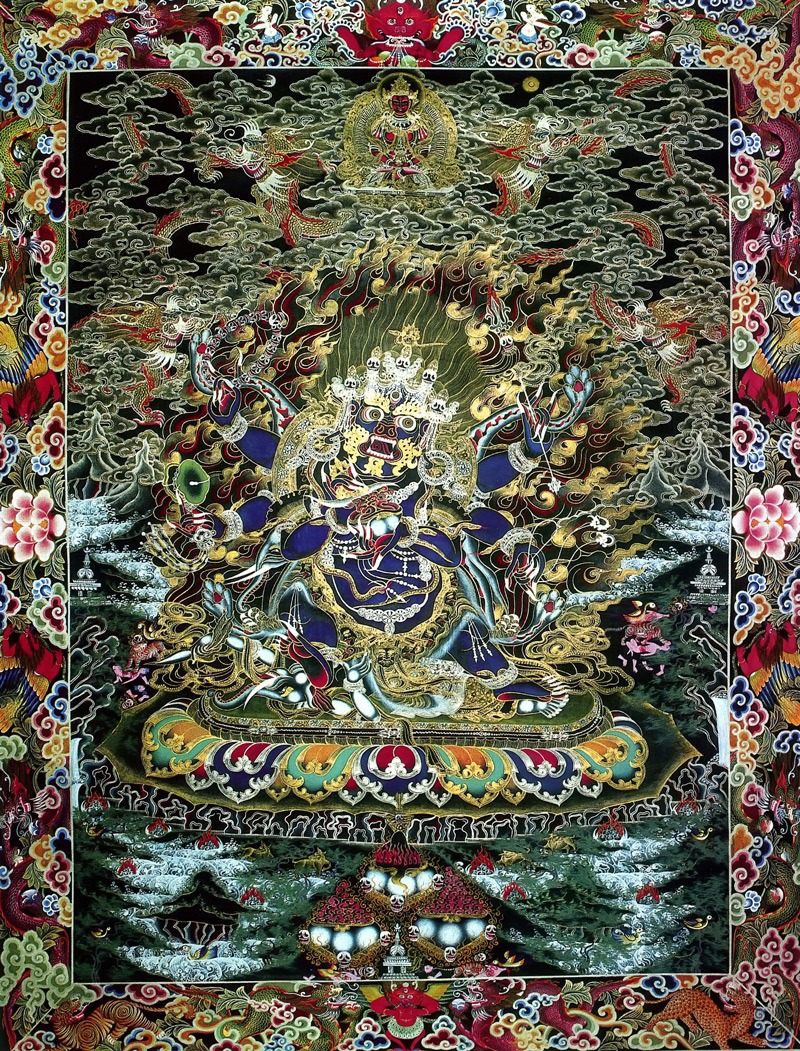 Тханка Махакала Бхайрава, шестирукий Четтупа. Работа невари в тибетском стиле.