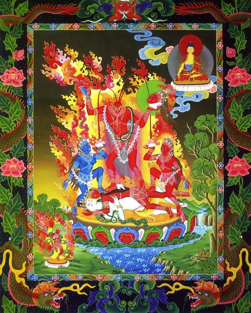 Тханка Кали Чиннамаста (нев.), Мулката (санскр.). Типичная тема невари, написанная в стиле невари, минеральные цвета, жидкое золото