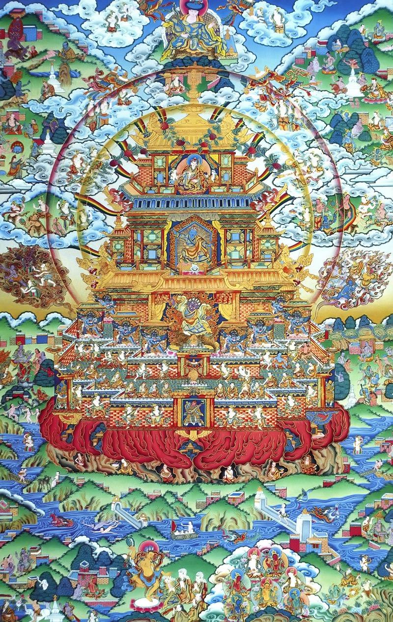 Тханка Гуру Ринпоче, тантрик. Тибетский стиль, минеральные цвета и жидкое золото