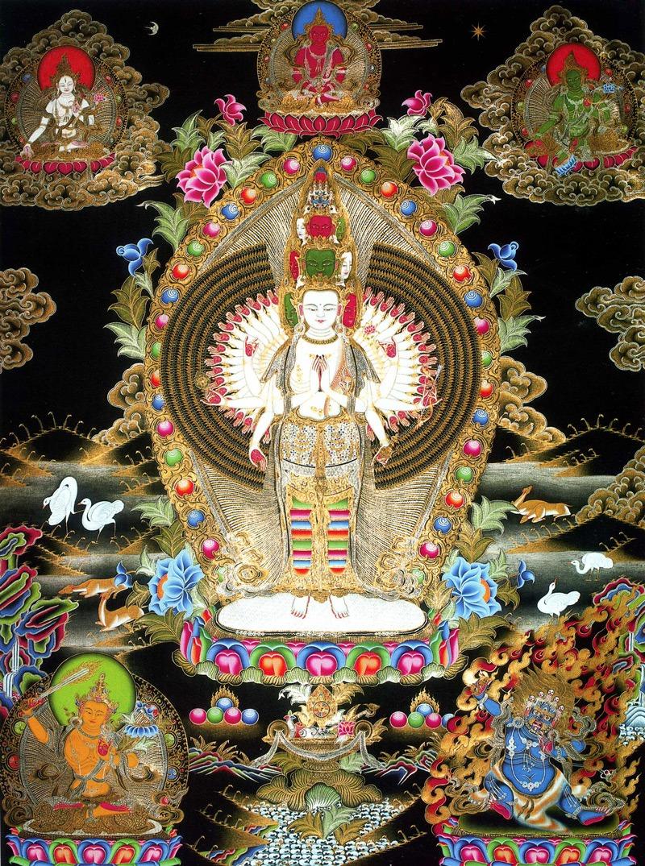 Авалокитешвара тханка. Работа невари в тибетском стиле, минеральные цвета, жидкое золото и серебро