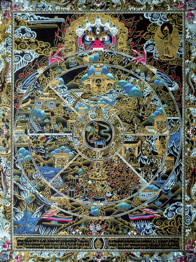 Самсара, колесо жизни, колесо возрождения (черный фон). Стиль невари, дизайн Накти, минеральные цвета, жидкое золото