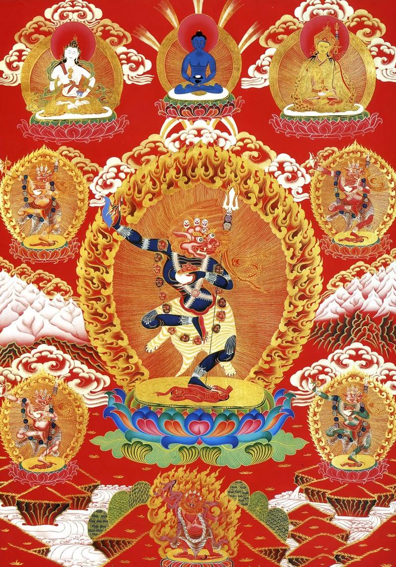 Синтонг, Синг Тома (тиб.), Симхамукха (нев.). Работа невари в тибетско-неварийском стиле, минеральные цвета, жидкое золото