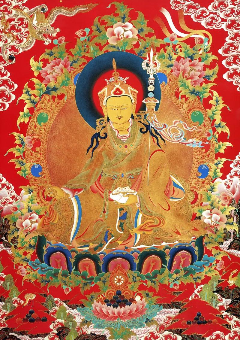 Тханка Гуру Ринпоче. Работа невари в тибетском стиле, минеральные цвета, жидкое золото и серебро