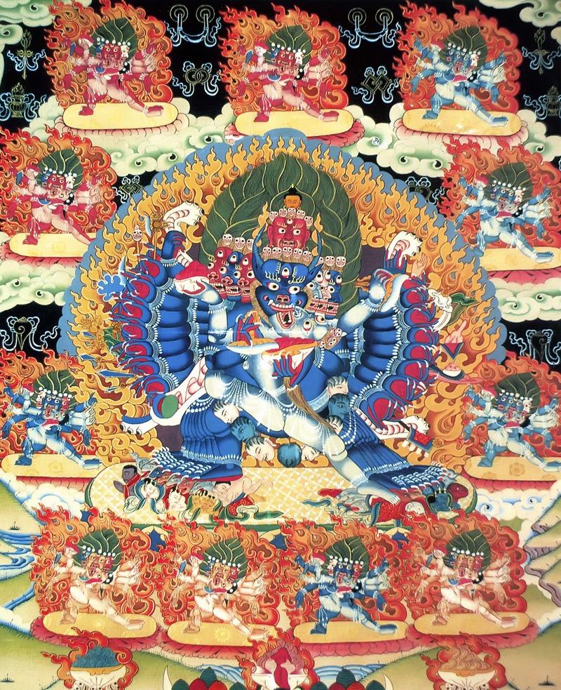 Тханка Ямантака / Ямарадж / Яма в союзе с Ямарани. Работа таманг, тема и стиль - типичные невари, минеральные цвета и жидкое золото