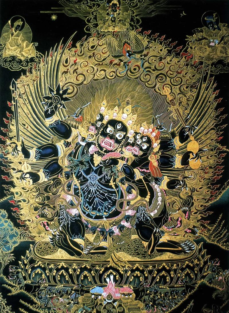 Ульмата Махакала, Ульмата Бхайрава, Хаягрива. Тибетский стиль, минеральные цвета и жидкое золото
