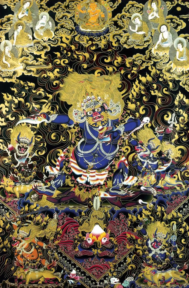 Тханка Двурукий Махакала с Ямантаками. Тибетский стиль, минеральные цвета с жидким золотом и серебром
