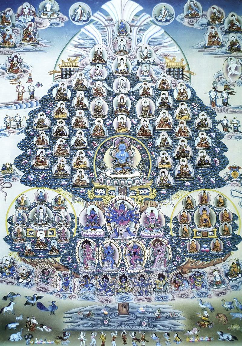 Убежище школы Кагьюпа тибетского буддизма. Тибетский стиль, минеральные цвета