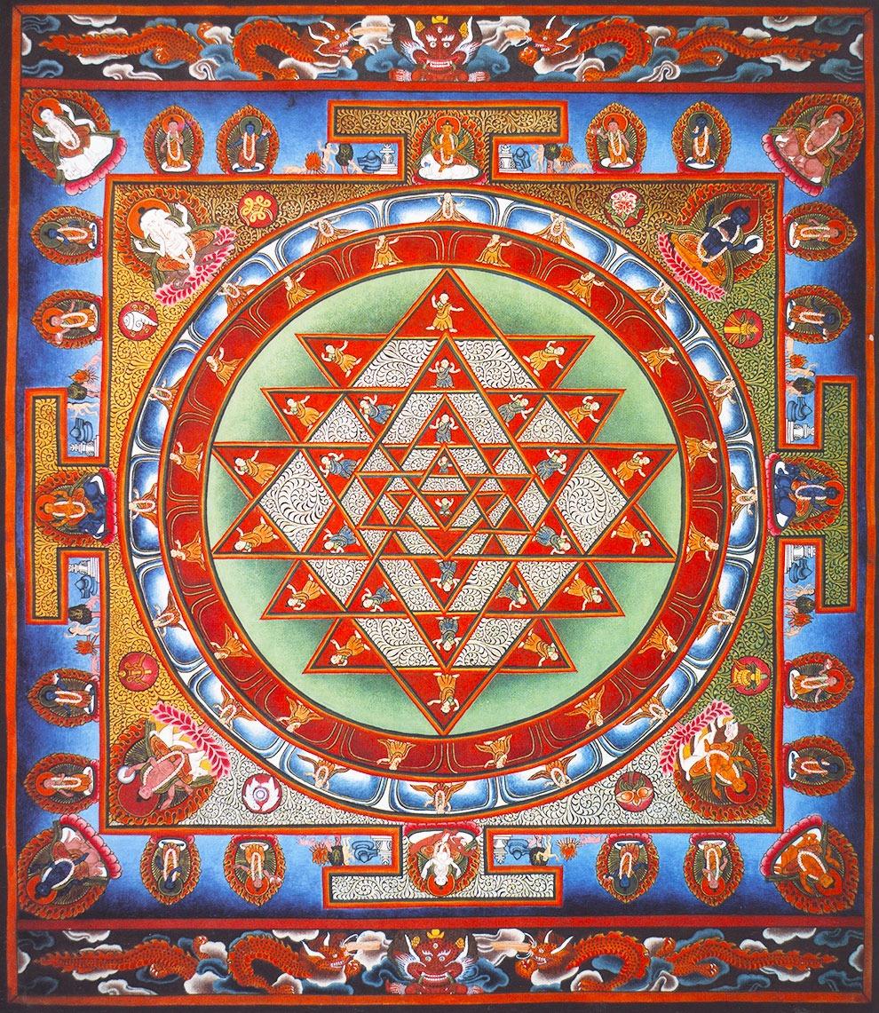 Шри Янтра. Тантрическое буддийское изображение, непальская школа тханка