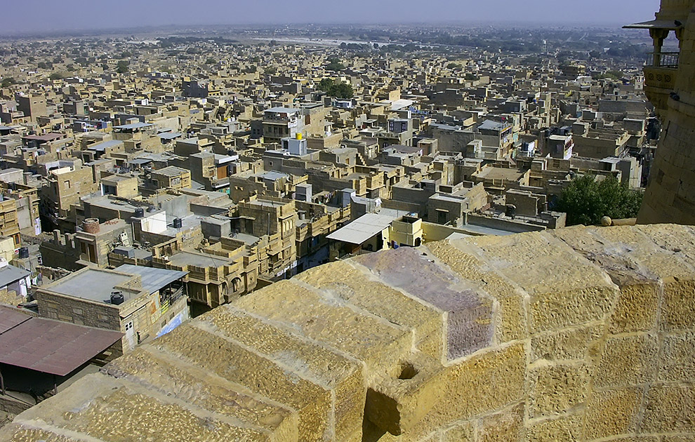 Вид на город с Форта Джайсалмер, Раджастан. Тур Краски Раджастана. Холи. Тур в Раджастан, Индия