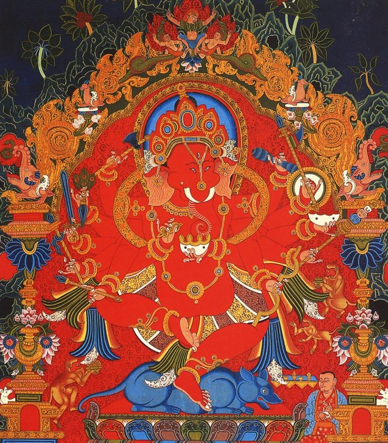 Ганеша тханка. Типичный неварийский стиль, минеральные цвета и жидкое золото, 80 x 64 см.