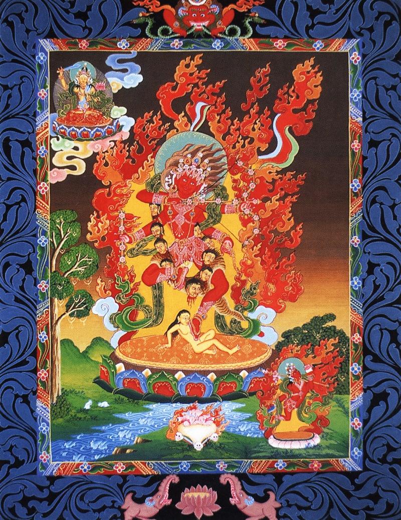 Ваджрайогини с луком и стрелами, Курукула Деви (нев.). Типичный неварийский стиль, минеральные цвета и жидкое золото