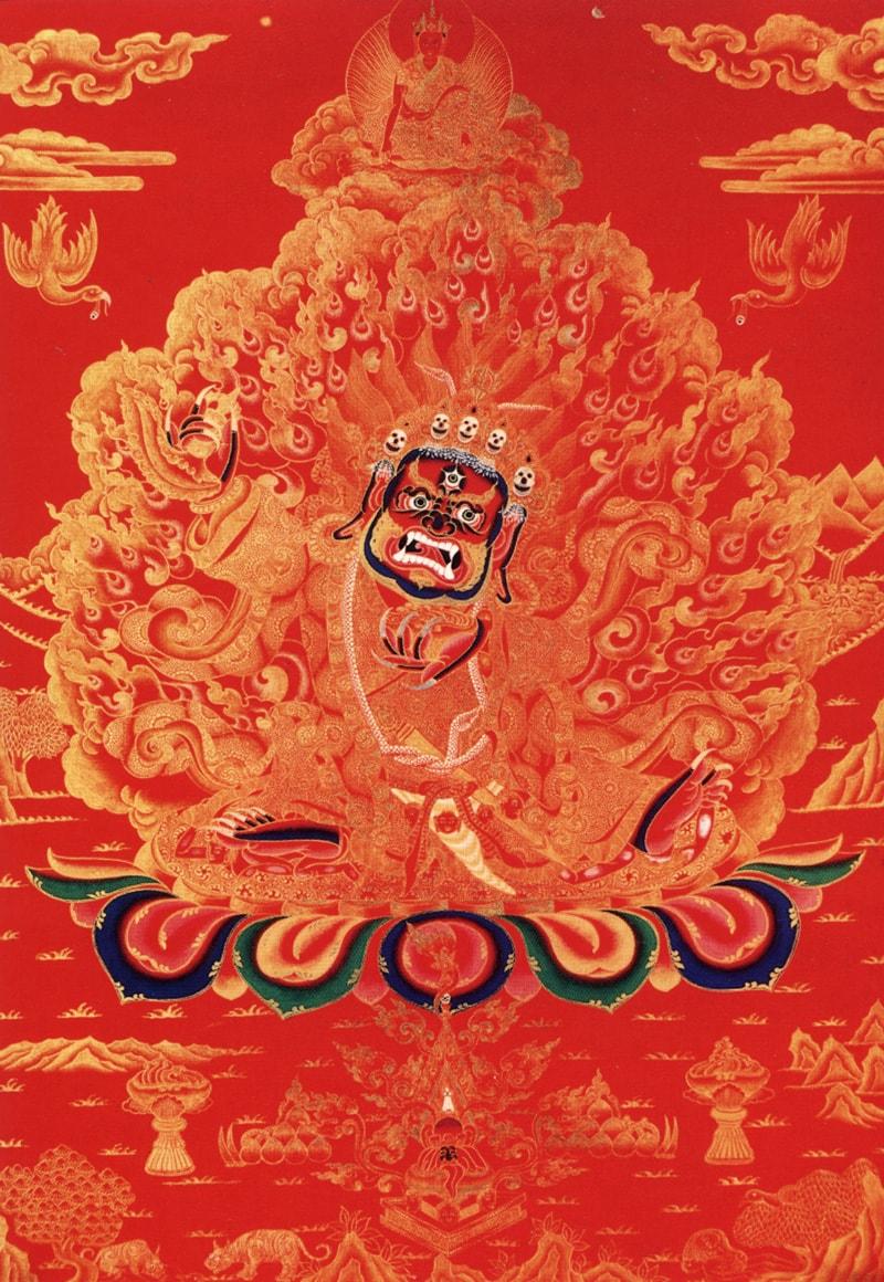 Барнаджин Бхайрава (тиб.), Гантемахакал (неп.), Бутху Махакала (нев.). Тибетский стиль, коралл, жидкое золото, лазурит, малахит и белый пигмент из камня туджа Ихонг