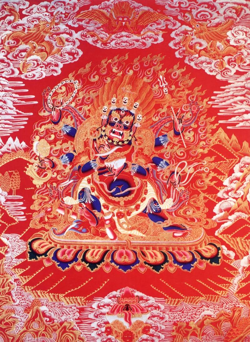 Махакал Бхайрава (тиб.). Тибетско-непальский стиль, коралл, жидкое золото и серебро, лазурит, малахит и белый пигмент из камня туджа Ихонг