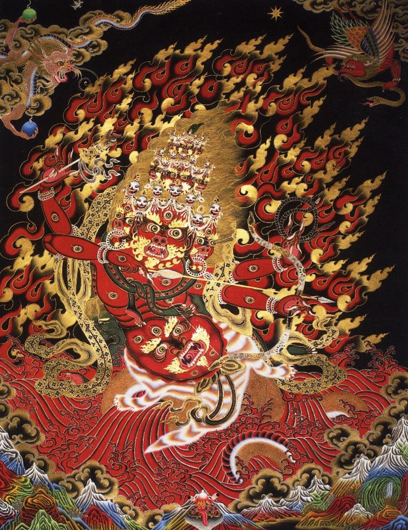 Тханка Рахула (тиб.), Бишу Бхайраб (нев.), Защитник Юга. Работа невари, смесь тибетских и невари стилистических элементов, минеральные цвета, жидкое золото на черном фоне, дизайн Накти