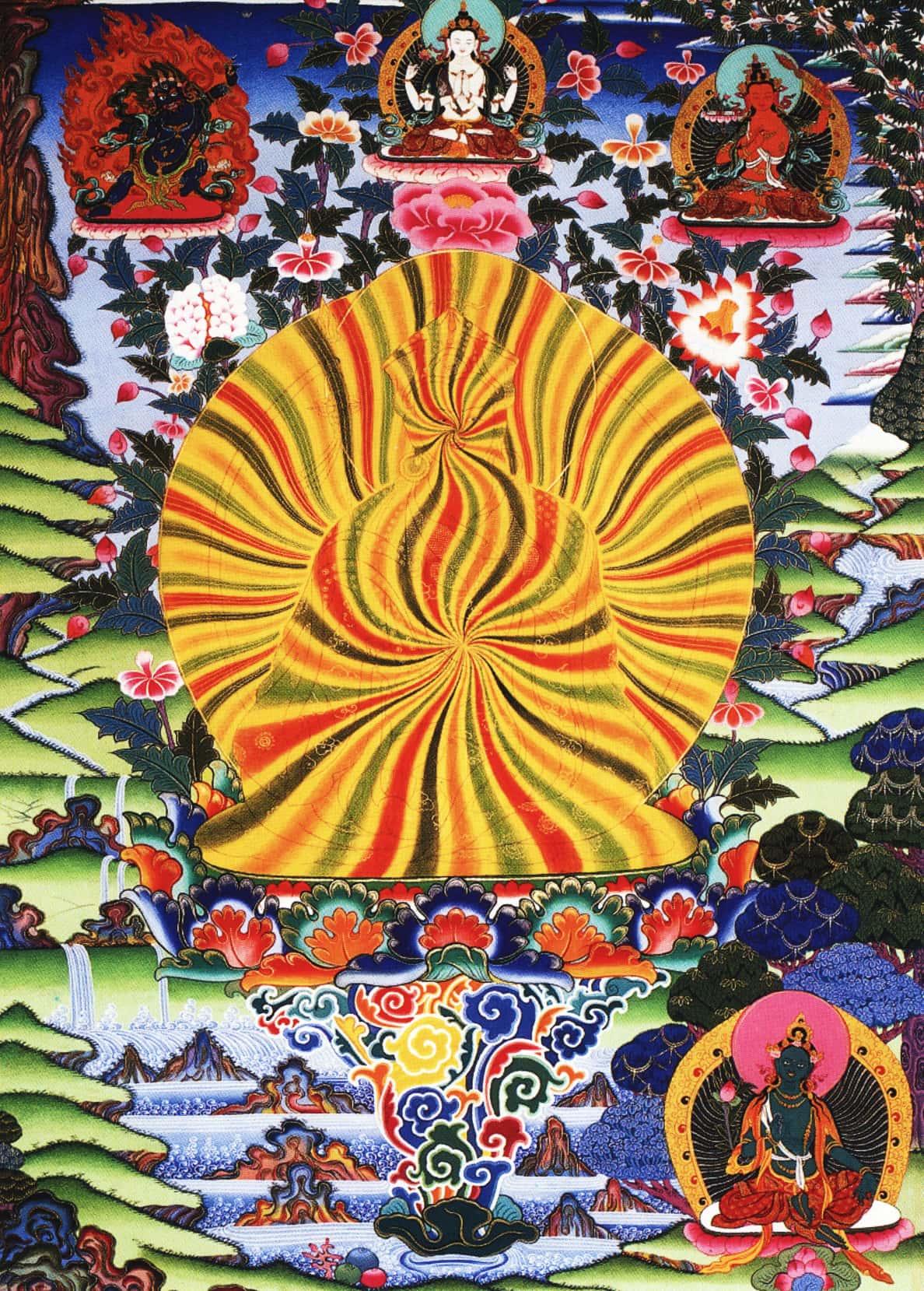 Падмасамбхава, просветленный Гуру Ринпоче. Работа таманг в тибетском стиле, минеральные цвета