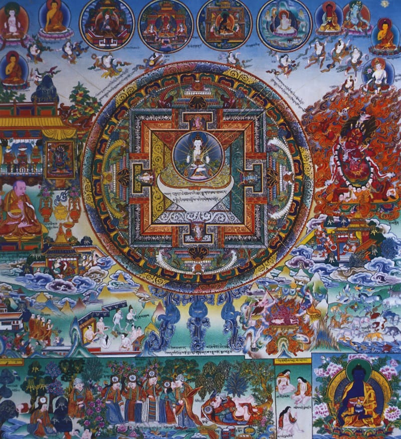 Мандала медицины. Работа Таманг в тибетском стиле, минеральные цвета, жидкое золото и серебро