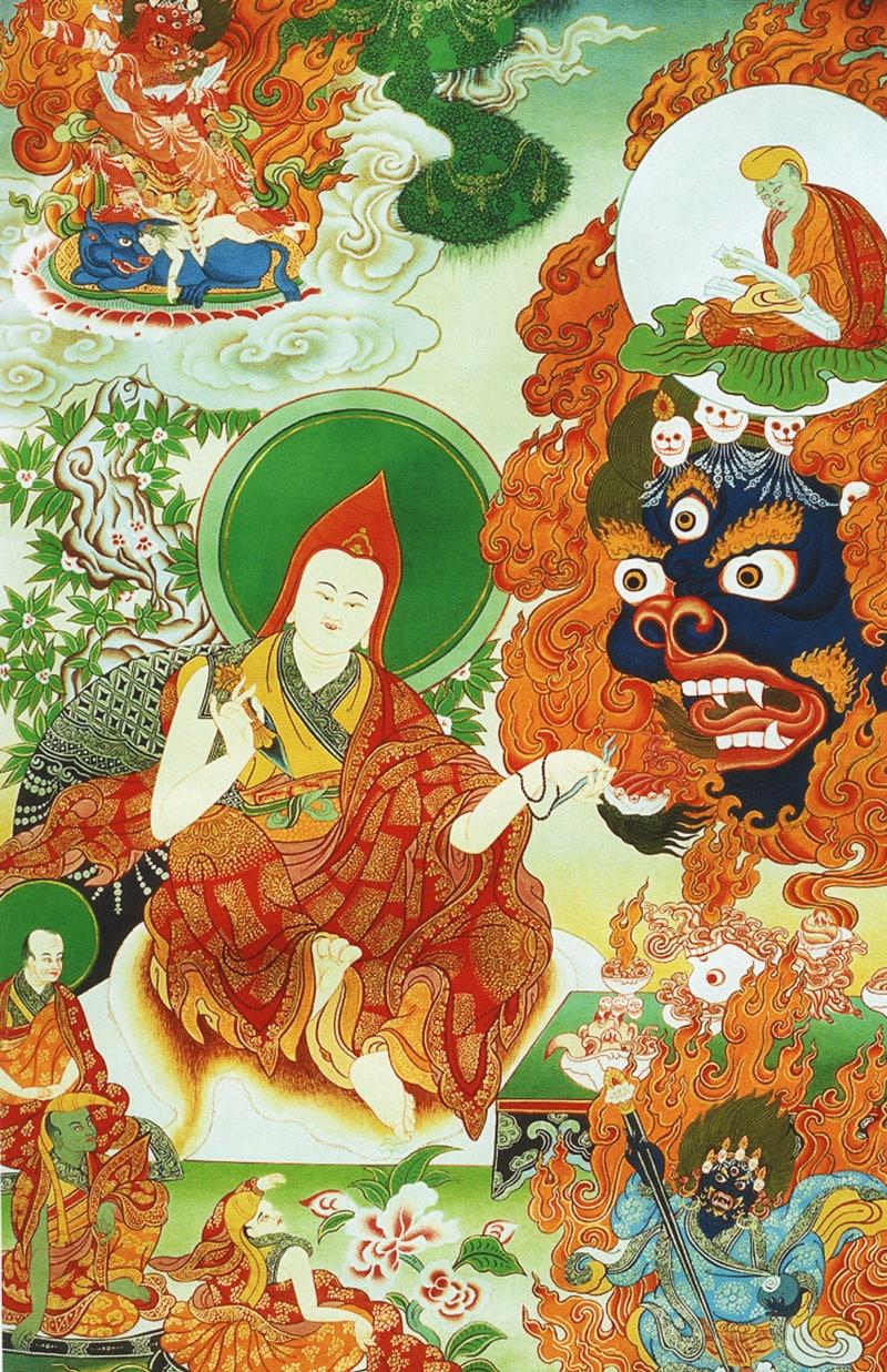 Тханка Йинтим Дордже (тиб.), Клятва Акаша Бхайрава. Работа Таманг в тибетском стиле, минеральные цвета и жидкое золото