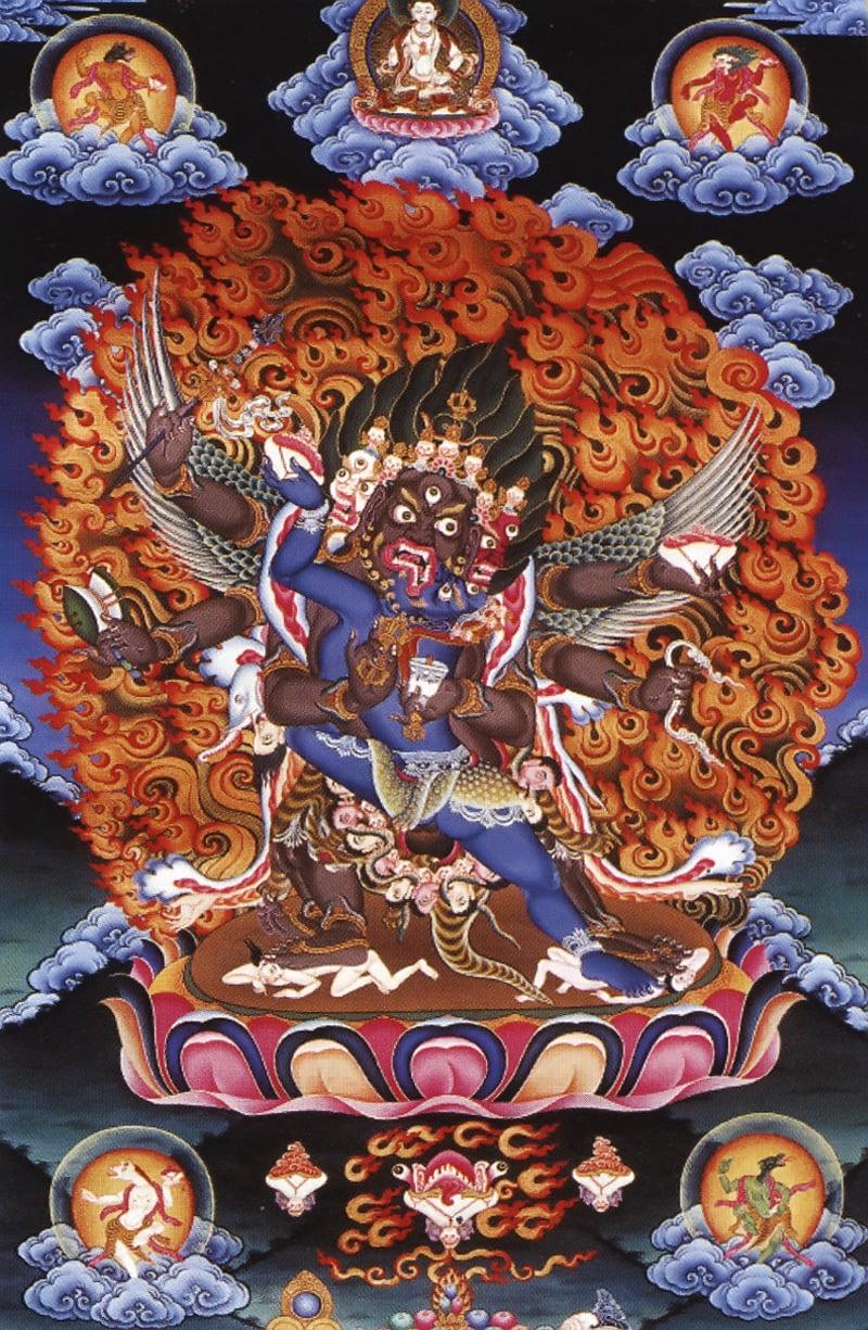 Махакала в яб-юм. Бутанский стиль, минеральные цвета