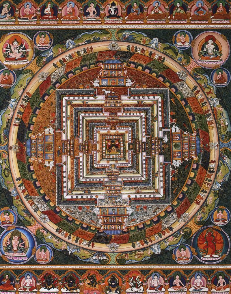 Мандала Калачакры. Работа таманг в тибетском стиле, минеральные цвета и жидкое золото