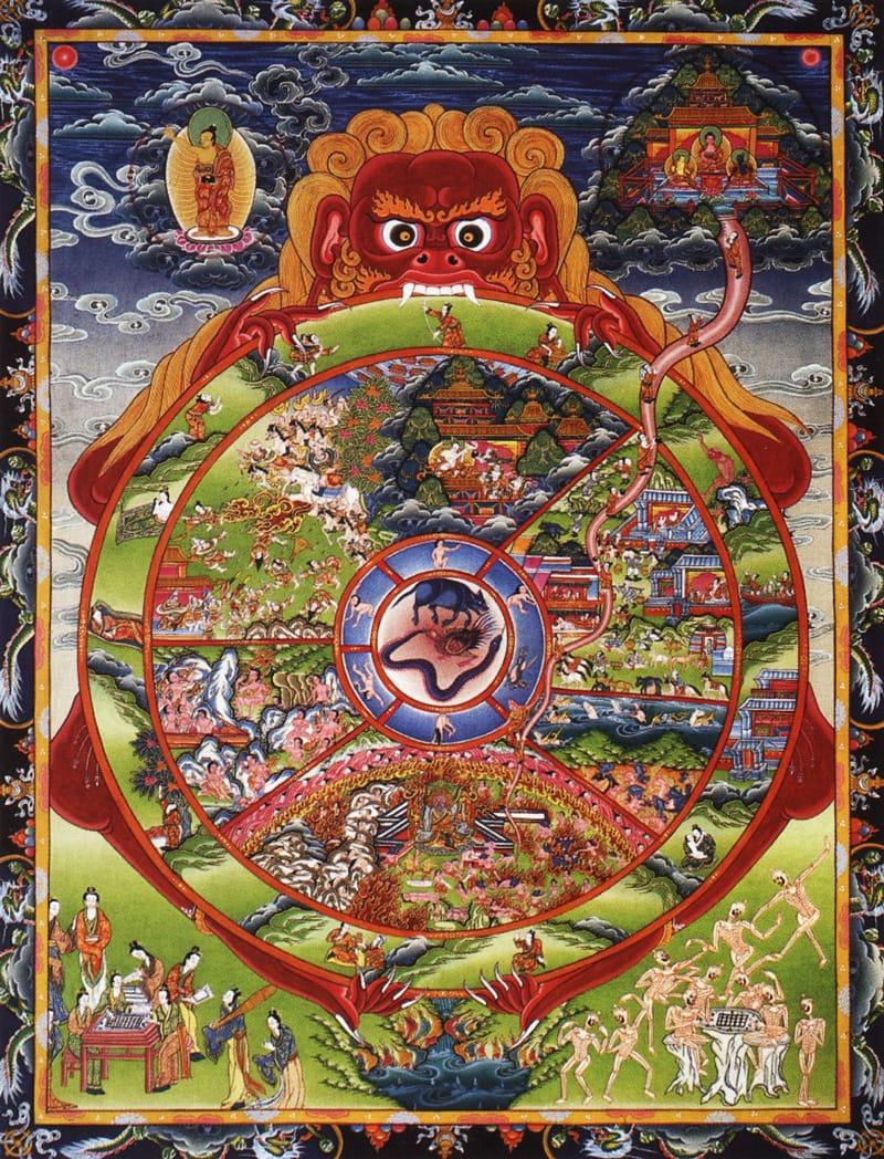 Тханка Самсара, колесо жизни, колесо возрождения, традиционное исполнение. Тибетский стиль, минеральные цвета, жидкое золото
