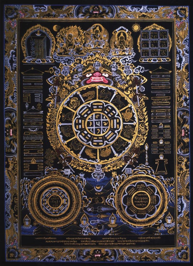 алендарь, черный фон. Тибетско-китайский стиль, минеральные цвета, жидкое золото