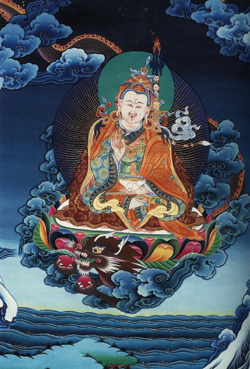 Тханка Падмасамбхава летит на драконе. Бутанский стиль, минеральный цвет и жидкое золото