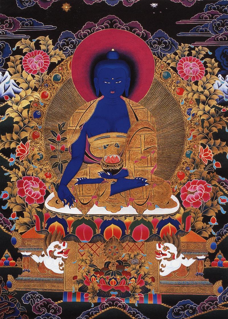 Тханка Будда Медицины. Работа Таманг в тибетском стиле, минеральные цвета, такие как лазурит, с жидким золотом