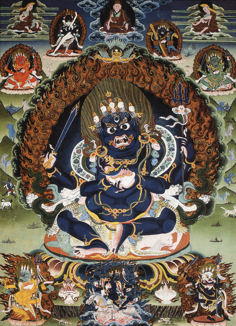 Черный четырехрукий Махакала. Тибетский стиль, минеральные цвета, Тибет, девятнадцатый век.