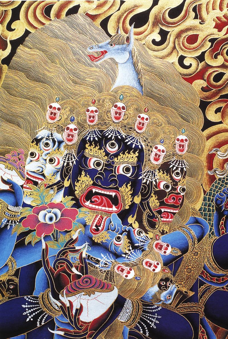 Тханка Яб-Юм Хаяривы и Шакти. Работа Таманг в типичном неварианском стиле, минеральные цвета с жидким золотом и серебром