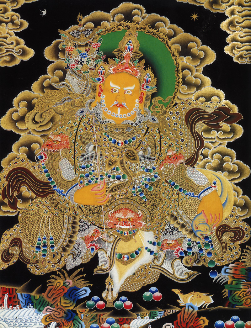 Желтый Вайшравана, Хранитель Севера. Буддийские хранители четырех основных направлений. Невари в китайско-монгольском стиле, минеральные цвета с жидким золотом и серебром