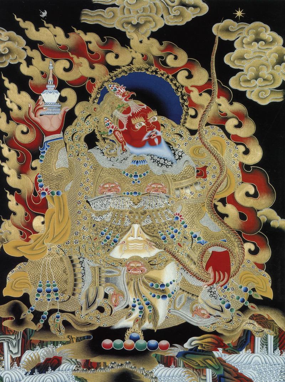 Красный Вирупакша, Хранитель Запада. Буддийские хранители четырех основных направлений. Невари в китайско-монгольском стиле, минеральные цвета с жидким золотом и серебром