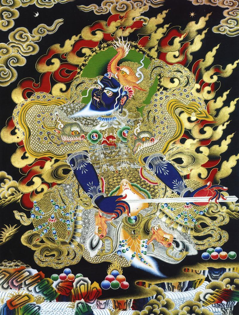 Синий Вирудхака (санскр.), Хранитель Юга. Буддийские хранители четырех основных направлений. Невари в китайско-монгольском стиле, минеральные цвета с жидким золотом и серебром