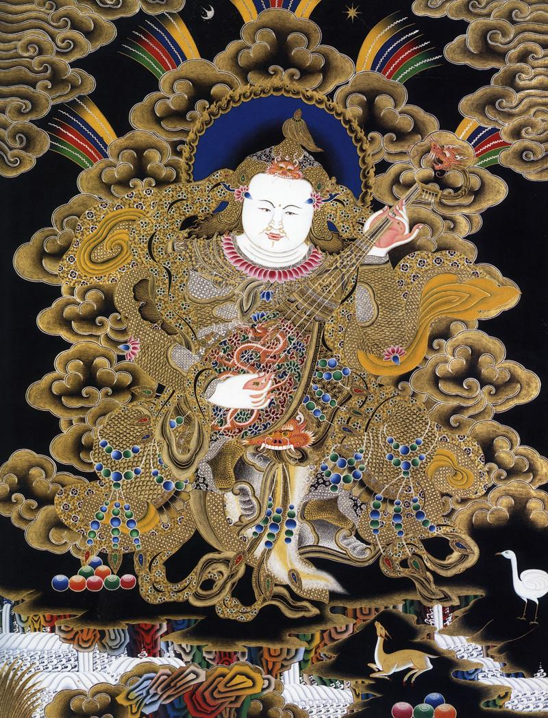 Белый Дхритараштра (санскр.), Хранитель Востока. Буддийские хранители четырех основных направлений. Невари в китайско-монгольском стиле, минеральные цвета с жидким золотом и серебром