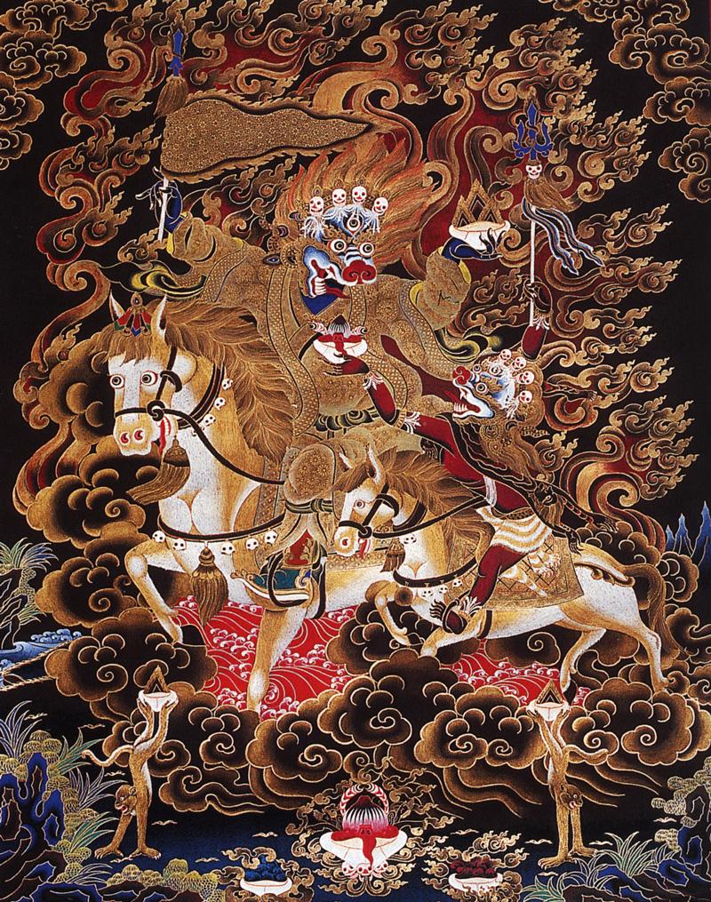 Тханка Поющий Трома на осле. Работа невари в тибетском стиле, минеральные цвета, жидкое золото и серебро