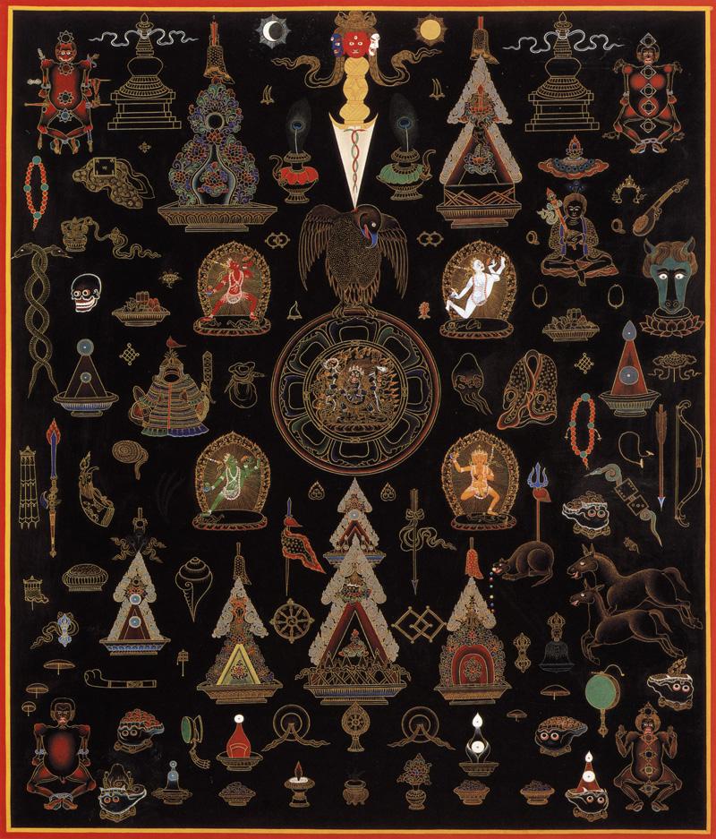 Ямантака тханка. Покрашен с двух сторон, тыльная сторона. Стиль невари пятнадцатого века, минеральные цвета, жидкое золото и серебро