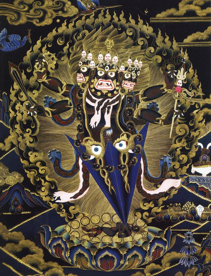 Пхурба тханка. Тибетский стиль, минеральные цвета с жидким золотом