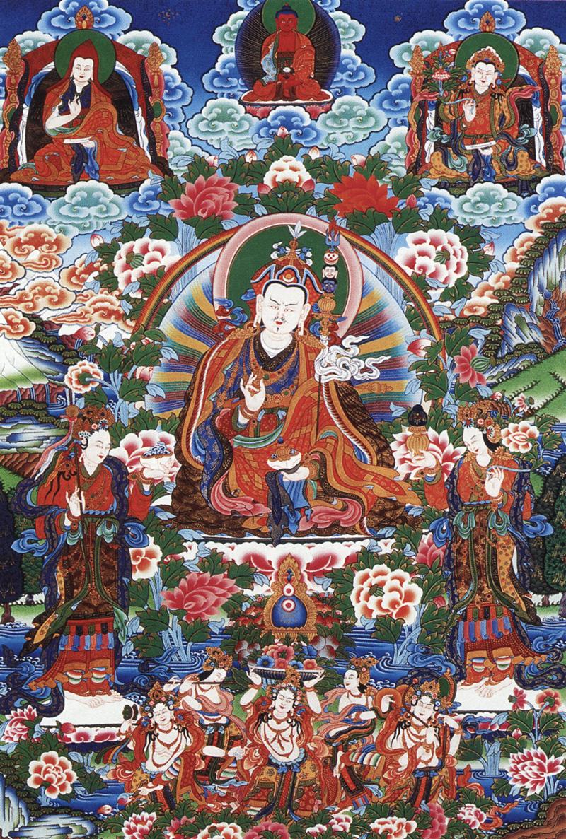 Тханка уру Римпонче со своими двумя супругами, Еше Цогьял и Мандравой. Минеральные краски и жидкое золото