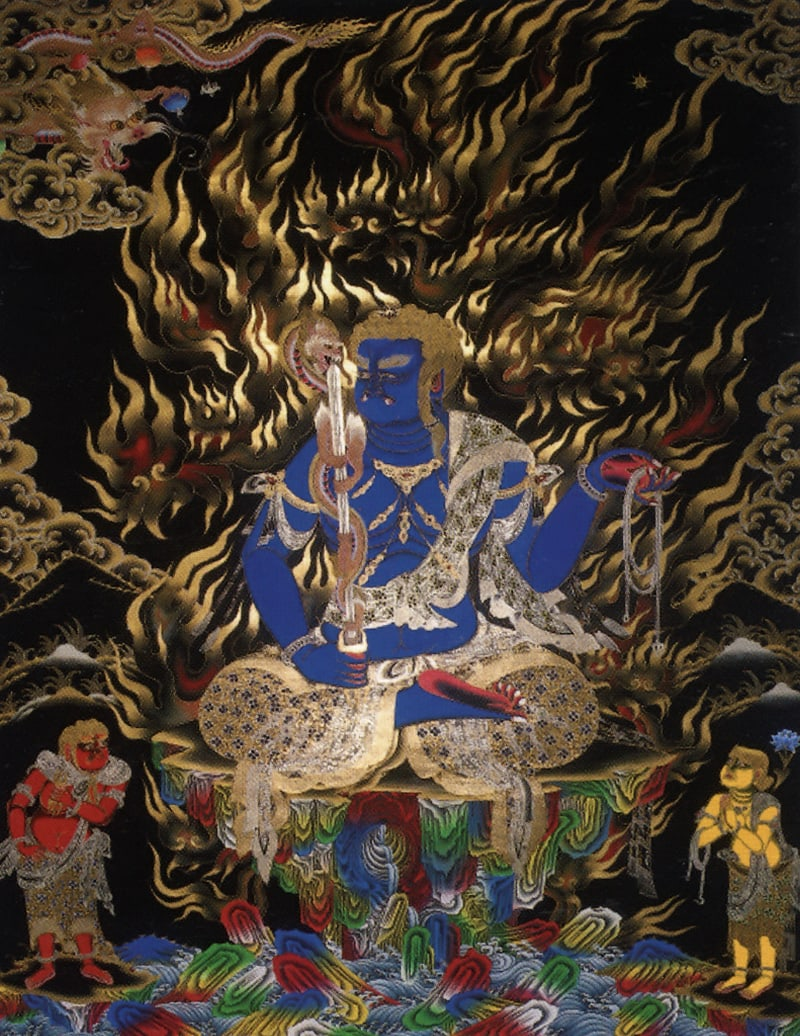 Бхутунг Мин Ван (кит.), Ямарадж (Эмарадж, Неп). Работа невари в монгольском китайском стиле, минеральные цвета, жидкое золото и серебро на черном фоне (дизайн Накти)