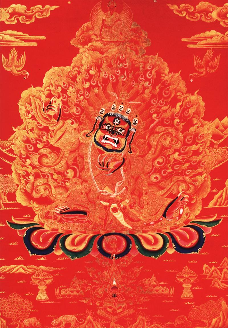 Махакала Бхайрава, изображенныq в красном