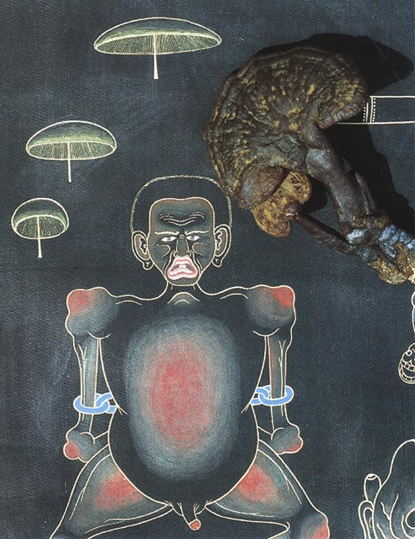 Шаманские грибы были обнаружены изображенными на старых тханках.. Вороний гриб из Тибетской Книги Мертвых (Бардо Тодол).