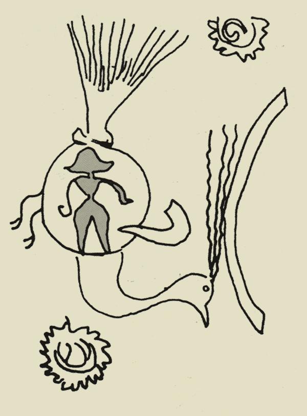 Копия рисунка со скалы в Мохенджо-Даро, на котором изображен павлин, птица репрезентирующая шаманский полет и просветления, с антропоморфическим грибом в своем теле
